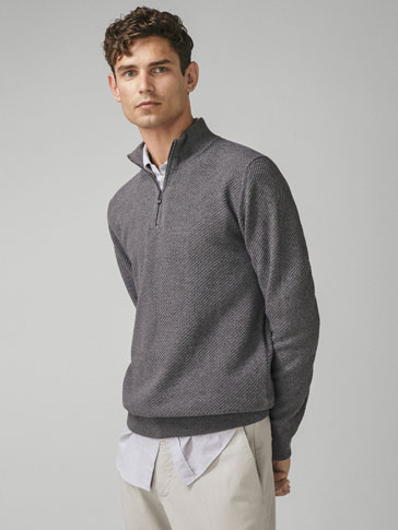 COTTON/CASHMERE TEXTURED SWEATER