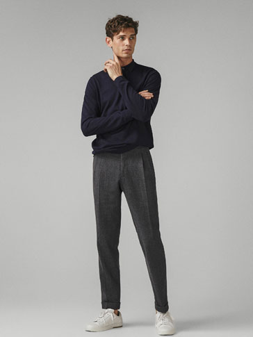 PLAIN COTTON/SILK/CASHMERE POLO SWEATER
