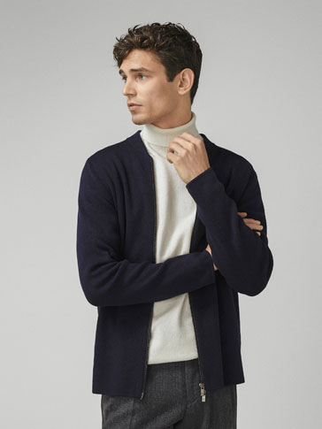 COTTON/SILK BOMBER CARDIGAN WITH CONTRAST PIPING