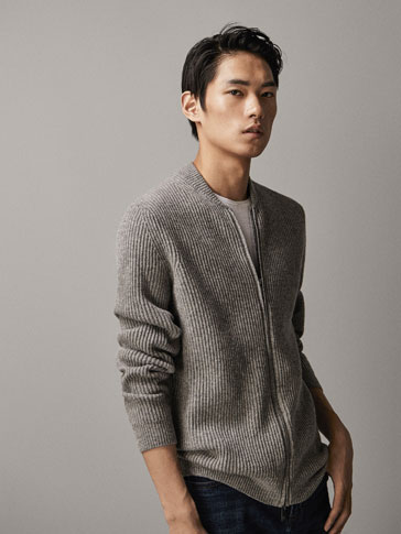 WOOL/CASHMERE TEXTURED BOMBER CARDIGAN