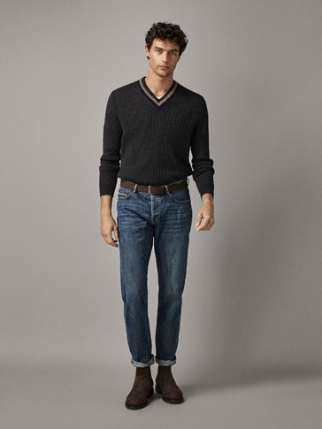 Wool/Cashmere Sweater With Contrast Details by Massimo Dutti