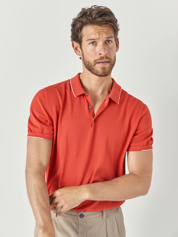 POLO-STYLE COTTON SWEATER WITH CONTRASTING DETAILS