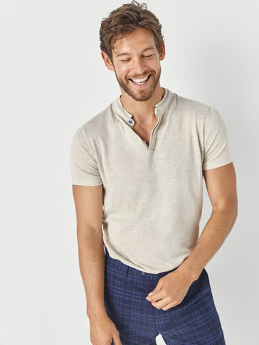 Polo Style Cotton Sweater With Contrasting Detail by Massimo Dutti