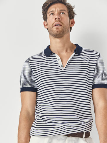 Striped Cotton Polo Sweater by Massimo Dutti