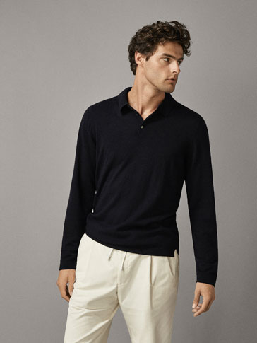 PERSONAL TAILORING WOOL/SILK/CASHMERE POLO SWEATER
