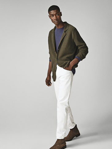 TEXTURED COTTON BLAZER-STYLE CARDIGAN