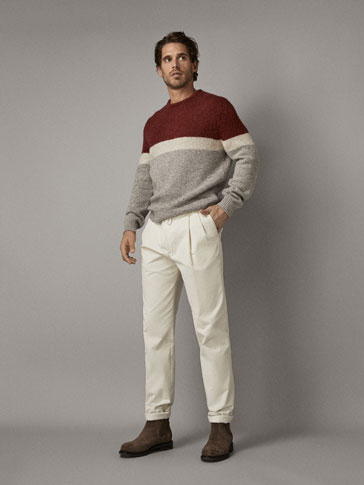 THREE-TONE WOOL SWEATER