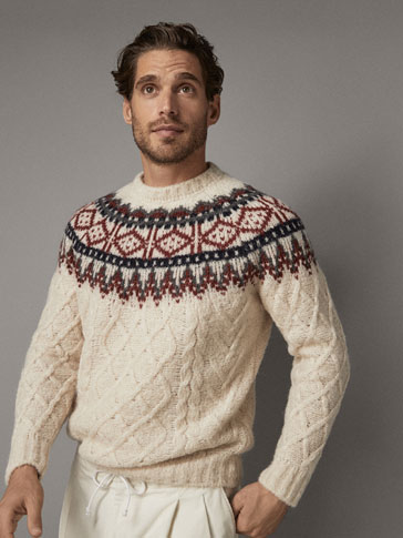 JACQUARD AND CABLE-KNIT WOOL SWEATER