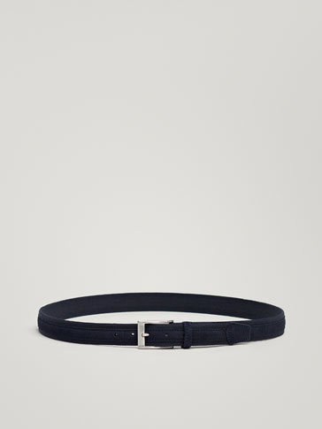 COMBINED FABRIC AND SPLIT SUEDE BELT
