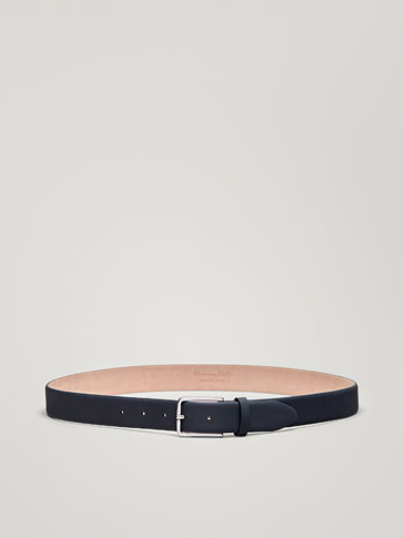NAVY BLUE RUBBERISED LEATHER BELT WITH DIE-CUT DETAILING
