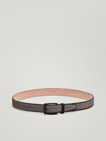 RIDGED NUBUCK LEATHER BELT