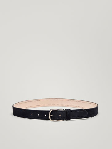 NAVY BLUE SPLIT SUEDE BELT WITH DIE-CUT DESIGN