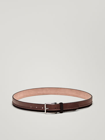 CONTRASTING NAPPA/SPLIT SUEDE LEATHER BELT