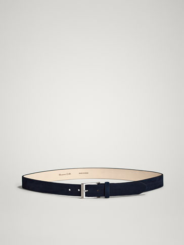 HERRINGBONE EMBOSSED NUBUCK LEATHER BELT