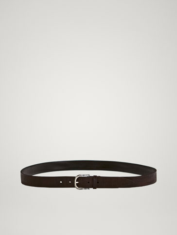 EMBOSSED FADED-EFFECT LEATHER BELT