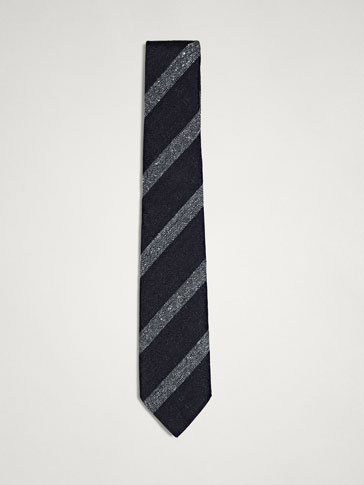 CONTRASTING STRIPES 100% SILK TIE