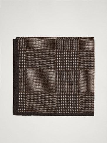 CHECKED WOOL/SILK POCKET SQUARE