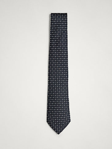MICRO CHECKED 100% SILK TIE