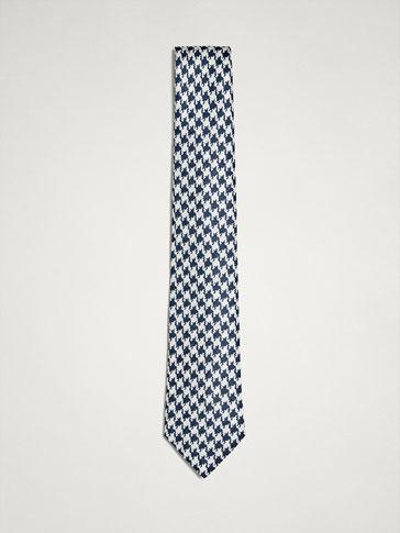 ربطة عنق 100% حرير نقش قدم الديك