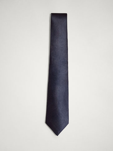 PERSONAL TAILORING TEXTURED WEAVE WAVY SILK TIE