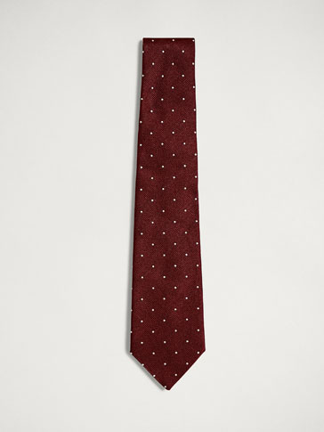 PERSONAL TAILORING WAVY TEXTURED POLKA DOT COTTON/SILK TIE