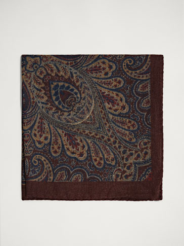PERSONAL TAILORING PAISLEY WOOL/SILK POCKET SQUARE