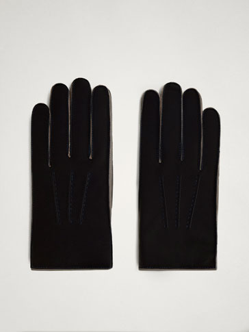 THREE-TONE NAPPA LEATHER GLOVES