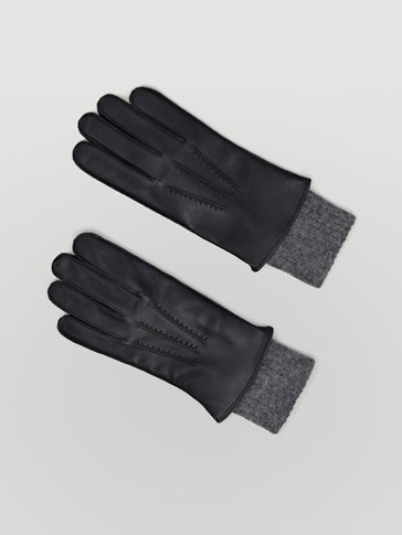 Contrast Black Nappa Gloves by Massimo Dutti