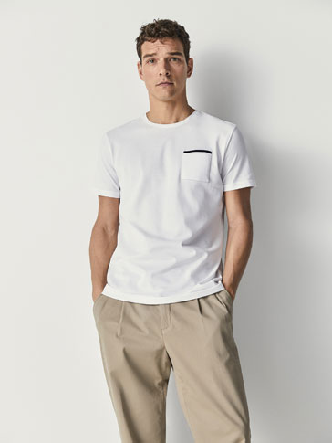 COTTON T-SHIRT WITH CONTRASTING DETAIL
