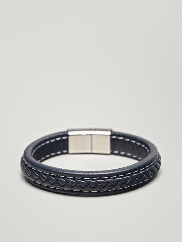 BRAIDED LEATHER BRACELET WITH TOPSTITCHING