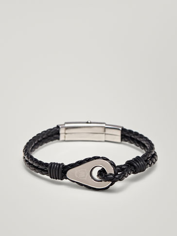 BRAIDED LEATHER BRACELET WITH THIMBLE DETAIL