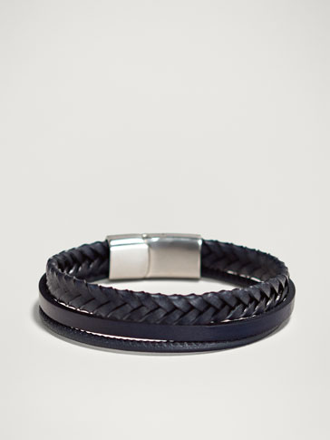 TRIPLE-STRAP BRAIDED HERRINGBONE LEATHER BRACELET