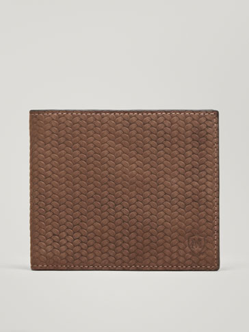 EMBOSSED HERRINGBONE LEATHER WALLET