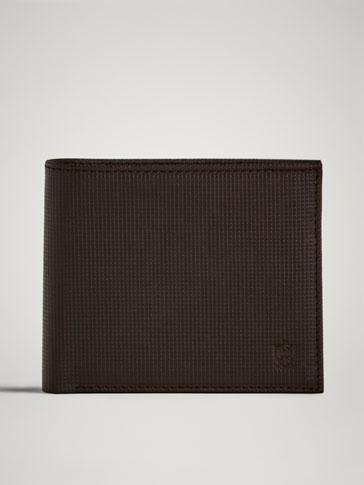 محفظة جلدية نقش مربعات دقيقة