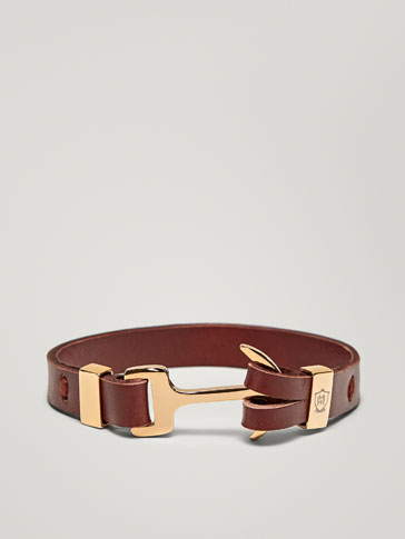 LEATHER BRACELET WITH ANCHOR DETAIL