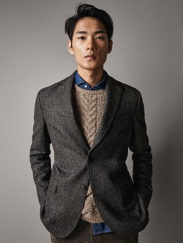 SLIM FIT HERRINGBONE 100% WOOL BLAZER