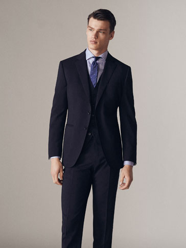 SLIM FIT NAVY BLUE WORSTED WOOL BLAZER