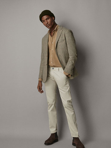 SLIM FIT COTTON TEXTURED WEAVE BLAZER