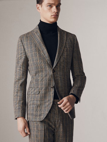 SLIM FIT CHECKED WOOL/COTTON BLAZER