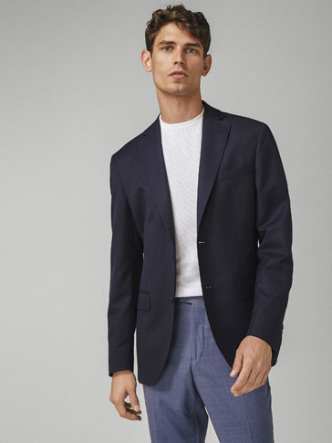 SLIM FIT PLAIN COTTON/WOOL BLAZER