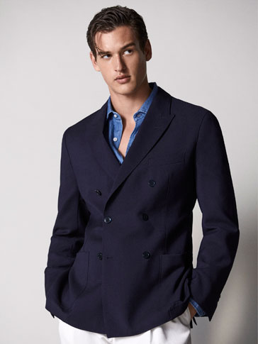 SLIM FIT DOUBLE BREASTED WOOL BLAZER