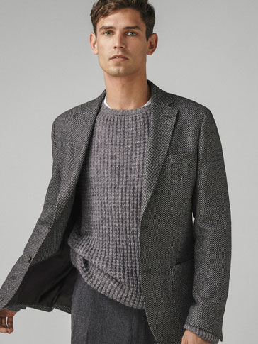 SLIM FIT TEXTURED WEAVE WOOL BLAZER