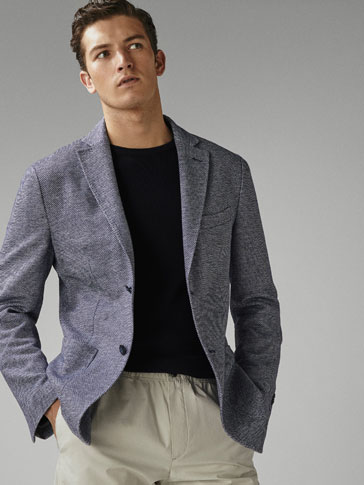 SLIM FIT TEXTURED WEAVE COTTON/LINEN BLAZER
