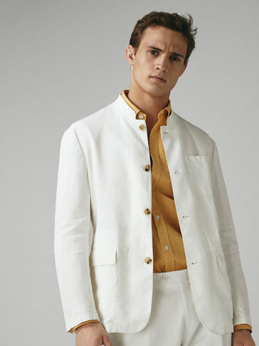 CASUAL FIT DECONSTRUCTED LINEN BLAZER