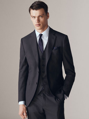 Slim Fit Plain Wool Blazer by Massimo Dutti