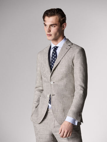 SLIM FIT HOUNDSTOOTH LINEN SUIT BLAZER