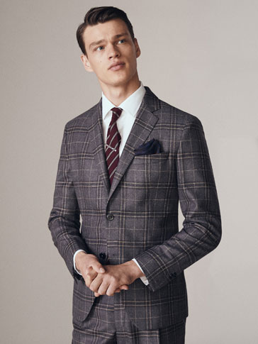 Slim Fit Window Pane Check Wool Blazer by Massimo Dutti
