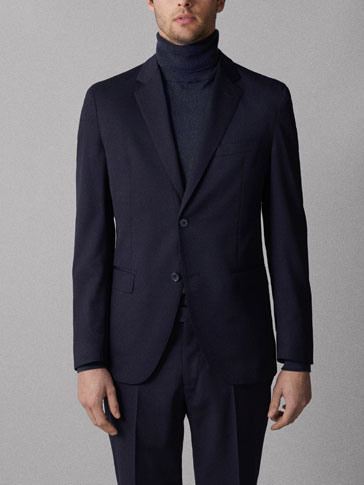 TRAVEL SUIT SLIM FIT PLAIN WOOL BLAZER