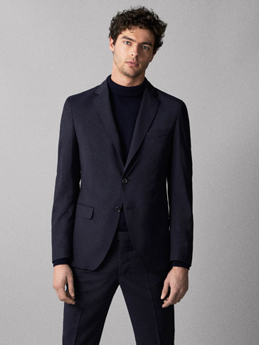 TRAVEL SUIT SLIM FIT STRIPED WOOL BLAZER