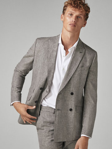 SLIM FIT CHECKED WOOL/LINEN SUIT BLAZER